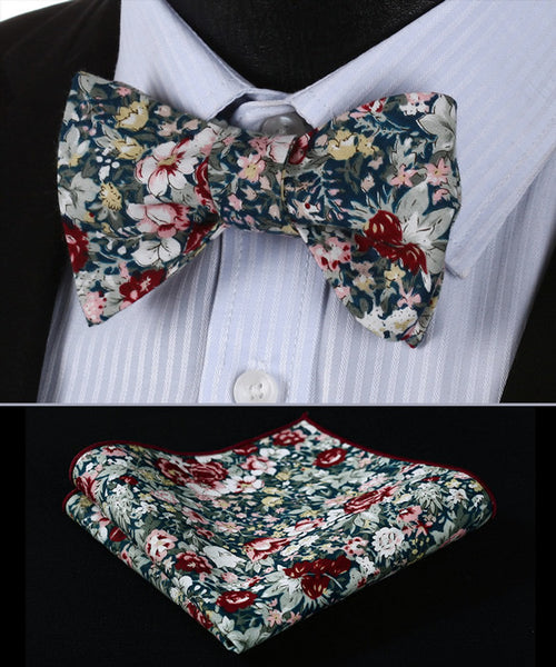 BMF201G Green Burgundy Floral 100% SILK MEN BUTTERFLY SELF TIE BOW TIE POCKET SQ