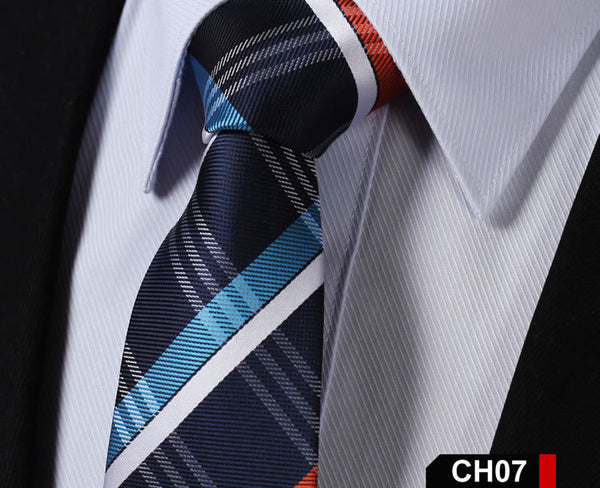 "CH Check 2.75"" 100%Silk Jacquard Woven Classic Wedding Slim Skinny Narrow Men Tie Necktie"