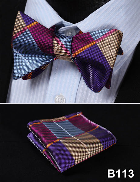 Plaid Check Bow Tie 100%Silk Men Classic  Butterfly Self Bow Tie BowTie # B1
