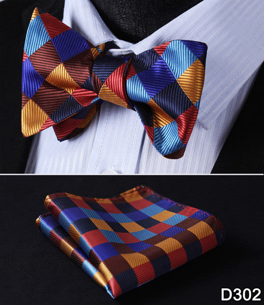 Plaid Check Bow Tie 100%Silk Woven Men Butterfly Self Bow Tie BowTie Pocket Square Handkerchief Hanky Suit Set #D3