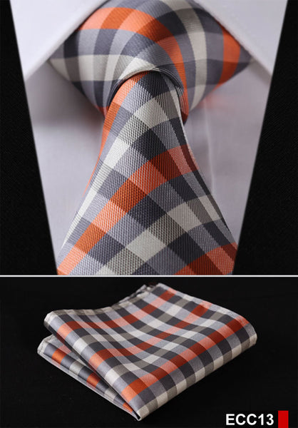 "PLAID NECKTIE Stripe 3.4""100%Silk  Jacquard Woven Necktie Pocket Square set"