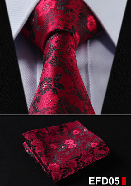 100%Silk Paisley Jacquard Woven Men Tie Necktie Pocket Square Set