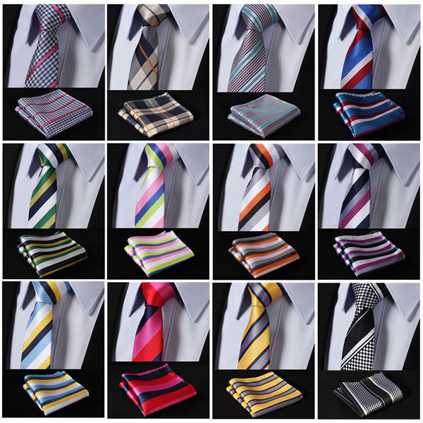 "EMF Skinny Stripes Houndstooth 2.17"" 100%Silk Woven Slim Skinny Narrow Men Tie Pocket Square Suit Set"