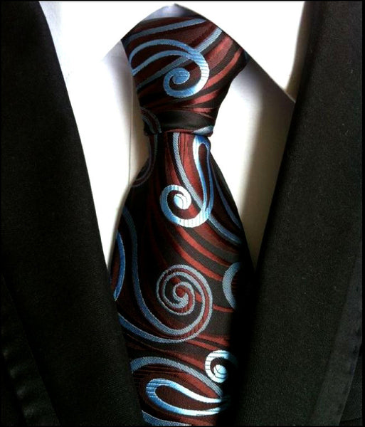 Paisley Blue Black Brown 100% Silk New Jacquard Woven Classic Mens