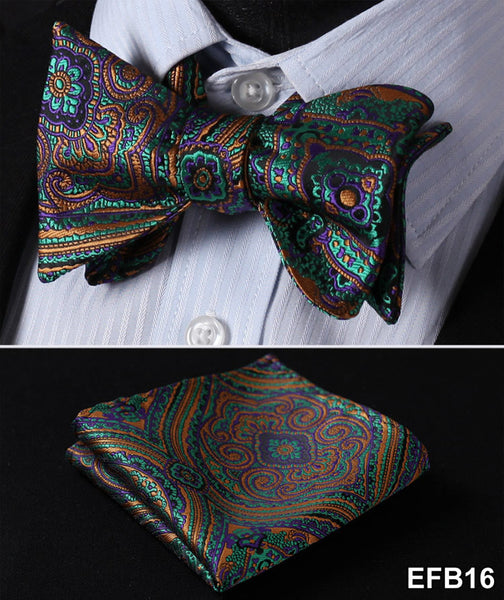 Green, Purple, Brown FLORAL 100% SILK BUTTERFLY TIE SELF TIE BOW TIE POCKET SQUA