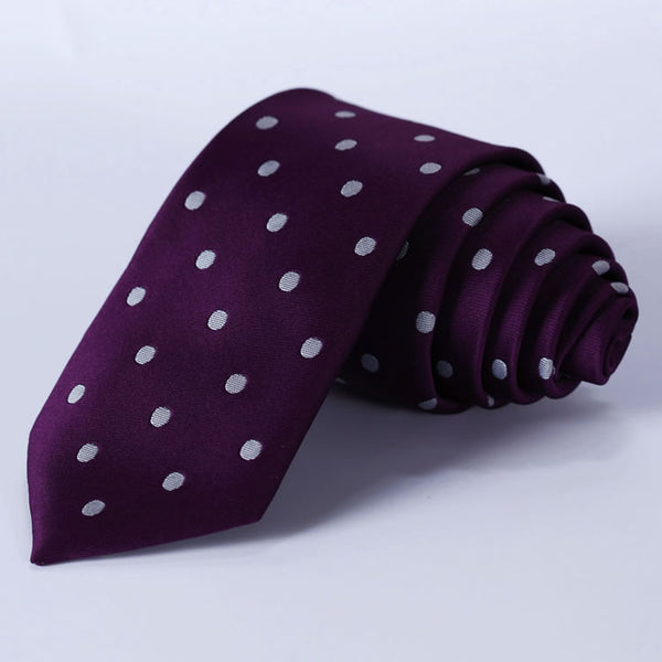 "TD1002P7 Purple Polka Dot Skinny ""2.75"" 100%Silk Woven Slim Skinny Narrow Men Tie Necktie Handkerchief Pocket Square Suit Set"