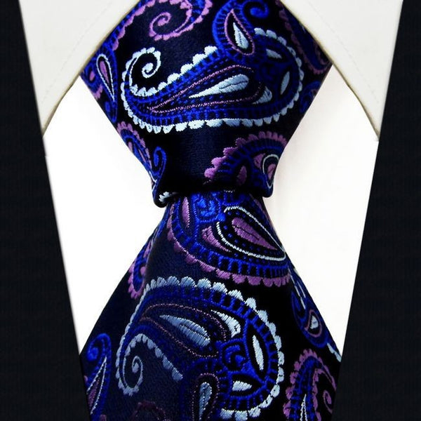 Q17 Paisley Blue Purple Mens Necktie Ties 100% Silk Jacquard Woven  Brand New