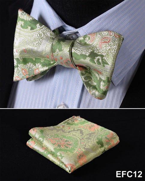 Green, Orange FLORAL 100% SILK BUTTERFLY TIE SELF TIE BOW TIE POCKET SQUARE BOW