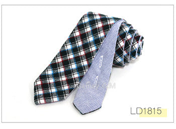 Newest Plaid 100% Cotton Ties for Men 5.0 width High Quality Adult Slim PLAID TI