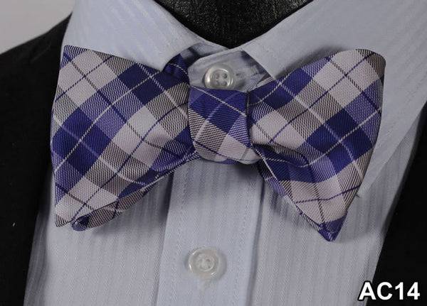 Polka Dot Check Cotton Blend 100%Silk Bow Tie, Wholesale Woven Men Classic Bow Tie