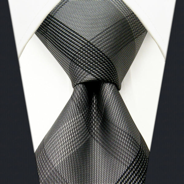 S1 Checked Black Dark Gray Men's PLAID NECKTIE 100% Silk Jacquard Woven