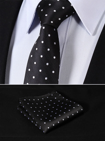 "TD1004L7 Black White Polka Dot Skinny 2.75"" 100%Silk Woven Slim Skinny Narrow Men  Pocket Square Suit Set"