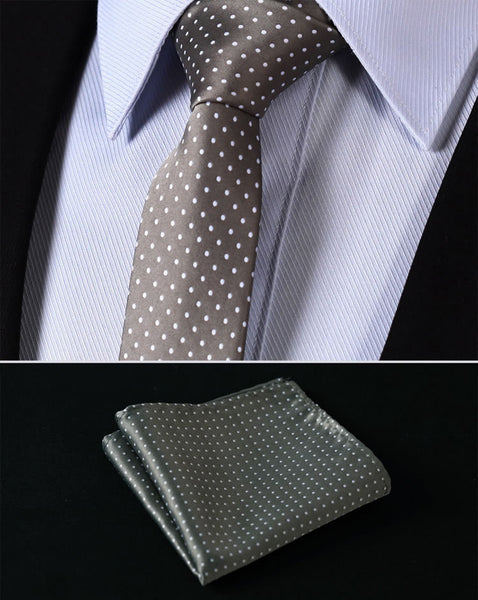 "TD119H6 Khak Polka Dot Skinny 2.4"" 100%Silk Woven Slim Skinny Narrow Men Tie Necktie Handkerchief Pocket Square Suit Set"