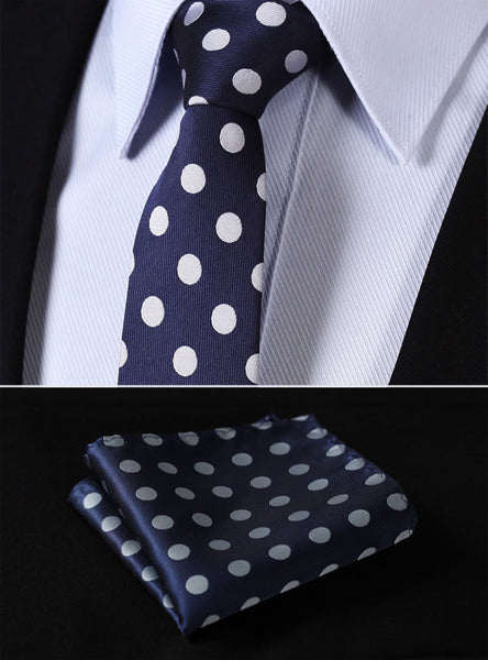 "TD201B7 Navy Blue Polka Do Skinny  2.75"" 100%Silk Woven Slim Skinny Narrow Men Tie Necktie Handkerchief Pocket Square Suit Set"