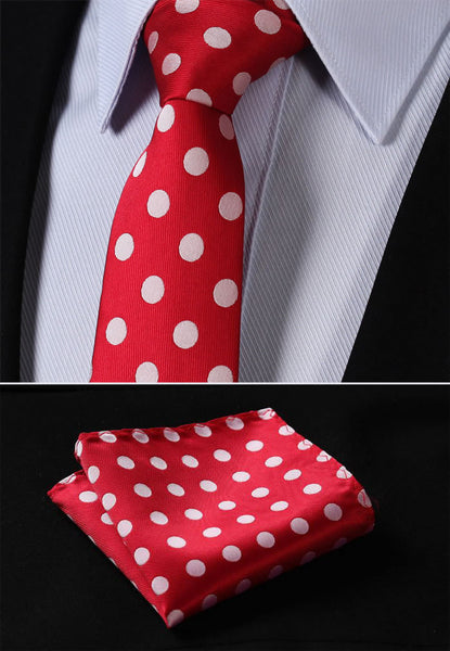 "TD201E7 Red Beige Polka Dot Skinny ""2.75"" 100%Silk Woven Slim Skinny Narrow Men Tie Necktie Handkerchief Pocket Square Suit Set"