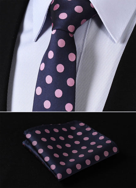 "TD201K7 Pink Navy Blue Polka Dot Skinny ""2.75"" 100%Silk Woven Slim Skinny Narrow Men Tie Necktie Handkerchief Pocket Square Suit Set"