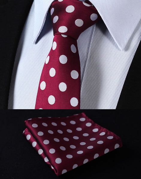 "TD201M7 Burgundy Gray Polka Dot Skinny 2.75"" 100%Silk Woven Slim Skinny Narrow Men Pocket Square Suit Set"