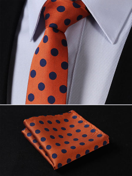 "TD201N7 Orange Blue Polka Dot Skinny 2.75"" 100%Silk Woven Slim Skinny Narrow Men Tie Necktie Handkerchief Pocket Square Suit Set"