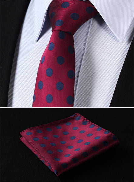 "TD201U7 Burgundy Blue Polka Dot Skinny""2.75"" 100%Silk Woven Slim Skinny Narrow Men Tie Necktie Handkerchief Pocket Square Suit Set"