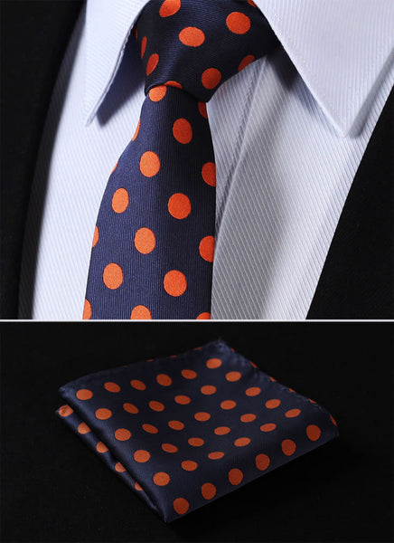 "TD201V7 Navy Blue Orange  Polka Dot Skinny 2.75"" 100%Silk Woven Slim Skinny Narrow Men Pocket Square Suit Set"