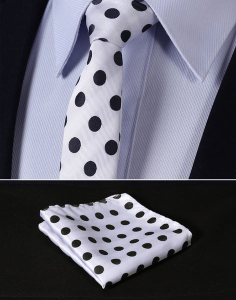"TD201W5 White Black Polka Dot Skinny2.17"" 100%Silk Woven Slim Skinny Narrow Men Pocket Square Suit Set"