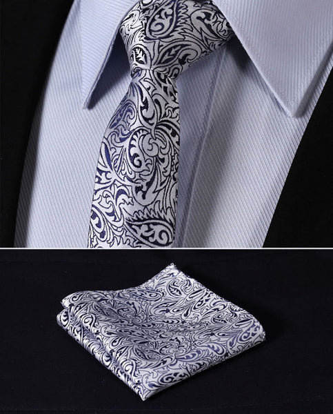 "TF1013B5 Navy Blue Silver skinny floral 2.17"" 100%Silk Woven Slim Skinny Narrow Men Tie Necktie Handkerchief Pocket Square Suit Set"