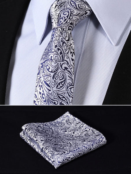 "TF1013B7 Navy Blue Silver skinny floral 2.75"" 100%Silk Woven Slim Skinny Narrow Men Tie Pocket Square Suit Set"