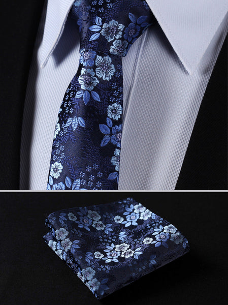 "TF2005B7 Navy Blue skinny floral 2.75"" 100%Silk Woven Slim Skinny Narrow Men Tie Necktie Handkerchief Pocket Square Suit Set"
