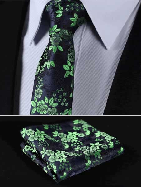 "TF2005G7 Green Navy Blue skinny floral 2.75"" 100%Silk Woven Slim Skinny Narrow Men Tie Necktie Handkerchief Pocket Square Suit Set"