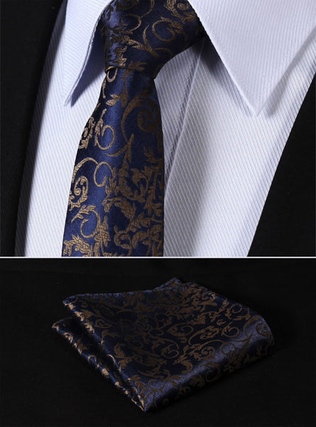 "TF2014B7 Navy Blue Gray Paisley skinny floral 2.75"" 100%Silk Woven Slim Skinny Narrow Men Tie Necktie Handkerchief Pocket Square Suit Set"