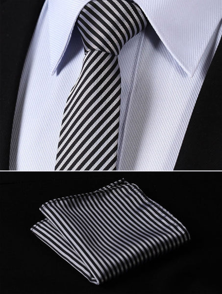 "TS1007S7 Silver Black Skinny Stripes 2.75"" 100%Silk Woven Slim Skinny Narrow Men Tie Necktie Handkerchief Pocket Square Suit Set"