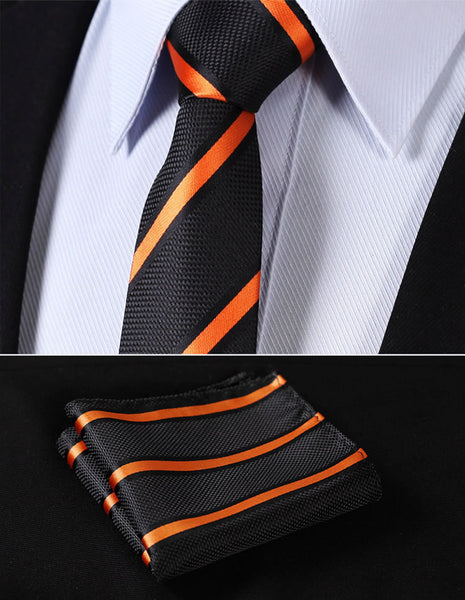 "TS2002N7 Orange Black Skinny Stripes 2.75"" 100%Silk Woven Slim Skinny Narrow Men Tie Necktie Handkerchief Pocket Square Suit Set"