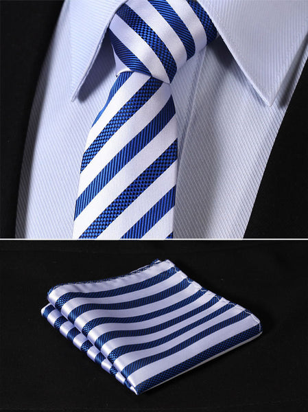 "TS2007B7 Blue Silver Skinny Stripes 2.75"" 100%Silk Woven Slim Skinny Narrow Men Tie Necktie Handkerchief Pocket Square Suit Set"