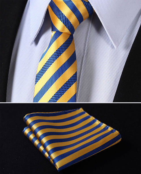 "TS2007E7 Yellow Blue Skinny Stripes 2.75"" 100%Silk Woven Slim Skinny Narrow Men Tie Necktie Handkerchief Pocket Square Suit Set"