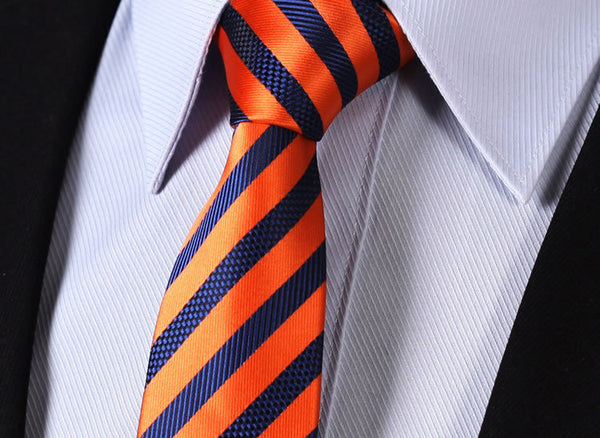 "TS2007N7 Orange Blue Skinny Stripes 2.75"" 100%Silk Woven Slim Skinny Narrow Men Tie Necktie Handkerchief Pocket Square Suit Set"