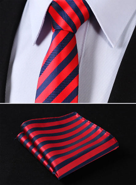 "TS2007R7 Red Blue Skinny Stripes 2.75"" 100%Silk Woven Slim Skinny Narrow Men Tie Necktie Handkerchief Pocket Square Suit Set"