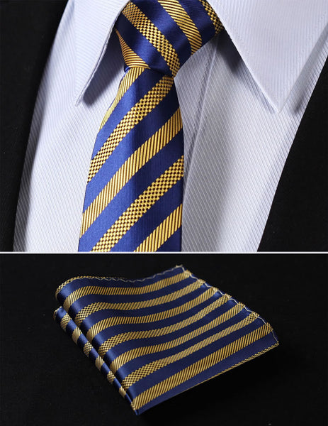 "TS2007Y7 Yellow Blue Skinny Stripes 2.75"" 100%Silk Woven Slim Skinny Narrow Men Tie Necktie Handkerchief Pocket Square Suit Set"