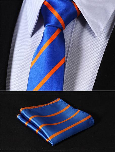 "TS2013B7 Blue Orange Skinny Stripes 2.75"" 100%Silk Woven Slim Skinny Narrow Men Tie Necktie Handkerchief Pocket Square Suit Set"