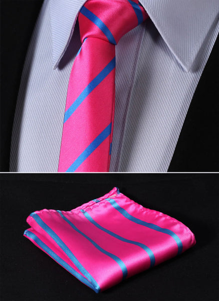 "TS2013K5 Pink Blue Skinny Stripes 2.17"" 100%Silk Woven Slim Skinny Narrow Men Tie Necktie Handkerchief Pocket Square Suit Set"