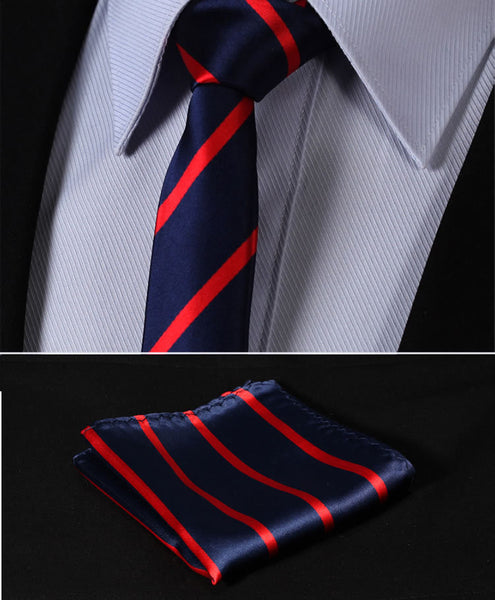 "TS2013R5 Red Navy Blue Skinny Stripes 2.17"" 100%Silk Woven Slim Skinny Narrow Men Tie Necktie Handkerchief Pocket Square Suit Set"