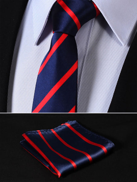 "TS2013R7 Red Navy Blue Skinny Stripes 2.75"" 100%Silk Woven Slim Skinny Narrow Men Tie Necktie Handkerchief Pocket Square Suit Set"