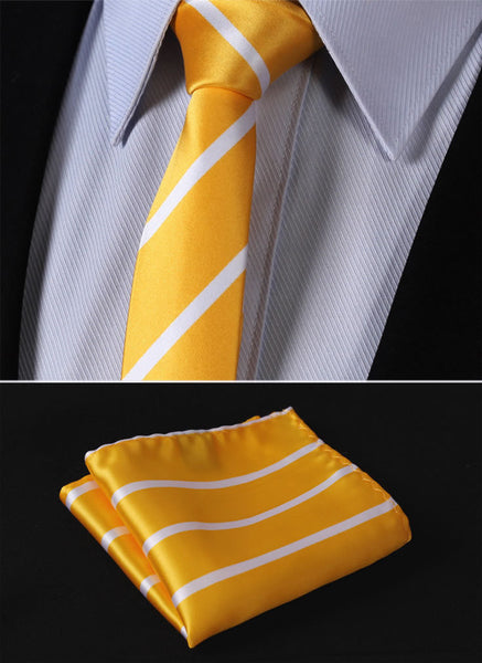 "TS2013Y5 Yellow White Skinny Stripes 2.17"" 100%Silk Woven Slim Skinny Narrow Men Tie Necktie Handkerchief Pocket Square Suit Set"