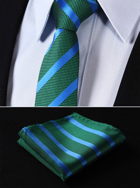 "TS2050G7 Green Blue Skinny Stripes 2.75"" 100%Silk Woven Slim Skinny Narrow Men Tie Necktie Handkerchief Pocket Square Suit Set"