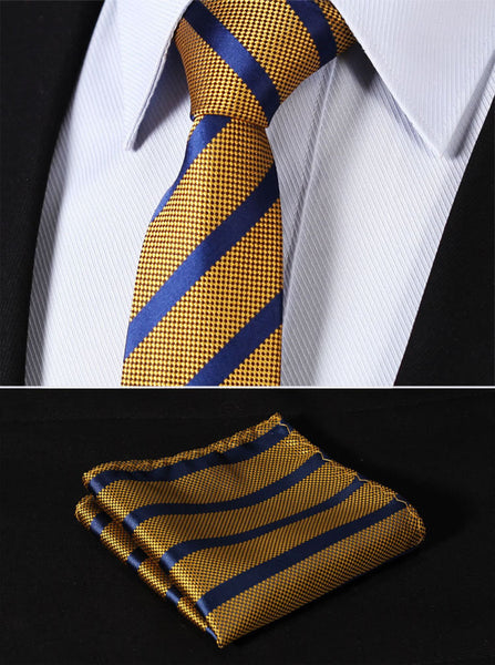 "TS2050Y7 Yellow Blue Skinny Stripes 2.75"" 100%Silk Woven Slim Skinny Narrow Men Tie Necktie Handkerchief Pocket Square Suit Set"