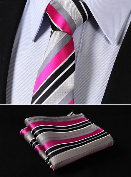 "TS356K7 Pink Black Skinny Stripes 2.75"" 100%Silk Woven Slim Skinny Narrow Men Tie Necktie Handkerchief Pocket Square Suit Set"