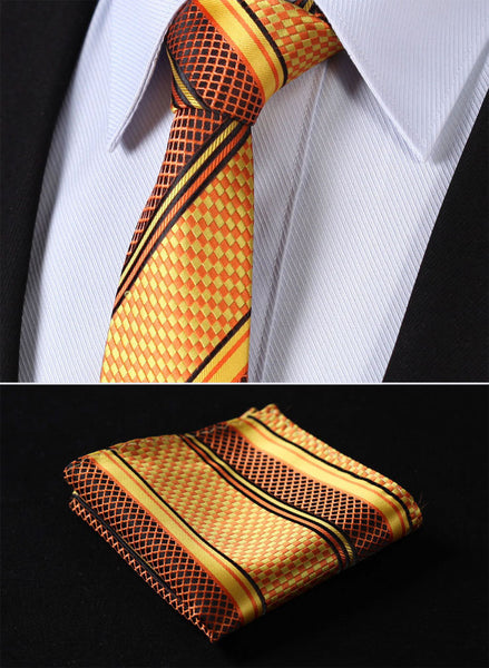 "TS4017N7 Orange Skinny Stripes 2.75"" 100%Silk Woven Slim Skinny Narrow Men Tie Necktie Handkerchief Pocket Square Suit Set"