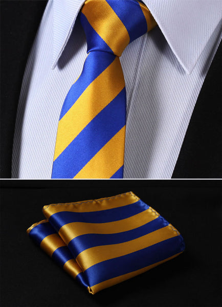 "TS432B7 Blue Gold Skinny Stripes 2.75"" 100%Silk Woven Slim Skinny Narrow Men Tie Necktie Handkerchief Pocket Square Suit Set"