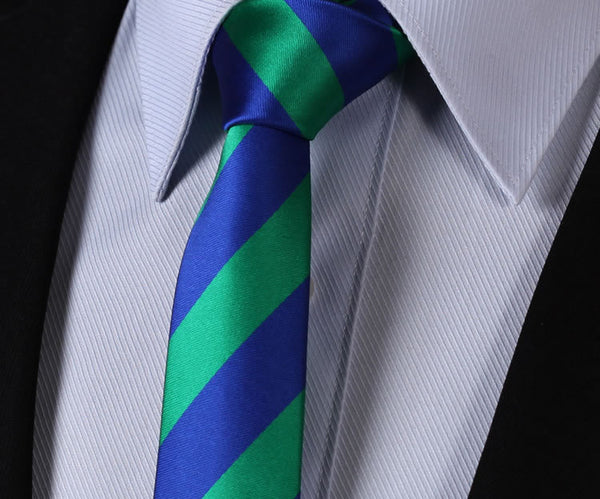 "TS432G5 Green Blue Skinny Stripes 2.17"" 100%Silk Woven Slim Skinny Narrow Men Tie Necktie Handkerchief Pocket Square Suit Set"