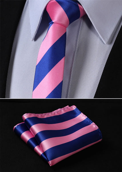 "TS432K5 Pink Blue Skinny Stripe 2.17"" 100%Silk Woven Slim Skinny Narrow Men Tie Necktie Handkerchief Pocket Square Suit Set"