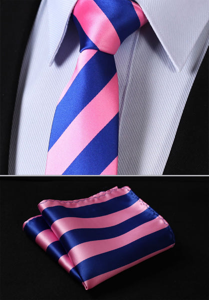 "TS432K7 Pink Blue  2.75"" 100%Silk Woven Slim Skinny Stripes Narrow Men Tie Necktie Handkerchief Pocket Square Suit Set"